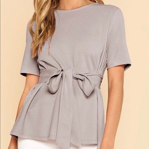 Shein Gray Tie Knot Front Short Sleeve Blouse LG